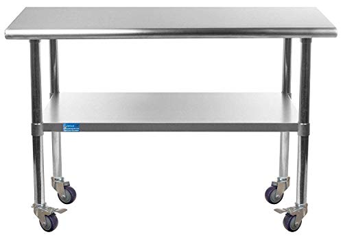 AmGood Stainless Steel Work Table with Casters | Work Station | Metal Utility Table On Wheels (Stainless Steel Work Table + Casters, 30' Long x 36' Deep)