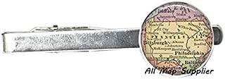 AllMapsupplier Charming Tie Clip,Pennsylvania map Tie Clip Tie Pin,Pennsylvania Tie Clip Tie Pin,State map Jewelry,Pennsylvania map Tie Clip,A0152