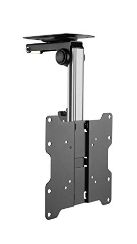 FEIGER Ceiling TV Mount Universal Hinged Tilt & Swivel Bracket (Flip Down Folding Pitched Roof Monitor Television Holder) for 17 to 37 Inch VESA LED LCD 4K Screens