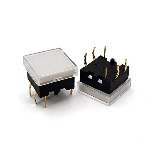 JSJJAES 5pcs TS12 Series 13.4 * 13.4mm Cuadrado con botón MUMPARIO LED PWB Push BOTÓN DE PCB Haga Clic en el Interruptor TACT (Color : 5Pcs Green)