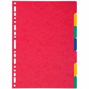 Exacompta 25 x Register A4 Manila-Karton 7-teilig blanko farbig