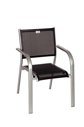 Acamp Albergo Gartenstühle | Stapelsessel, Maße 63x60x87 cm | hochwertiges und atmungsaktives Acatex-Gewebe | Gestell aus rostfreiem Aluminium | Platin/Nero | platzsparend | guter Sitzkomfort