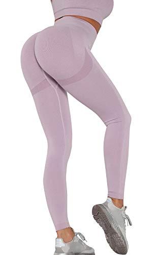 CMTOP Leggings anticelulitis deportivos para mujer, pantalones de yoga Push Up, cintura alta, control de la barriga, mate, para correr, entrenamiento, spandex, gimnasio, elásticos, suaves violeta S