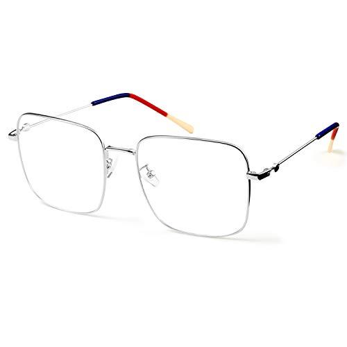 SaNgaiMEi Gafas para Ordenador Anti luz Azul - Gafas con Filtro de luz Azul bloqueo de luz azul Evita la Fatiga Ocular para Hombre y Mujer (silver)