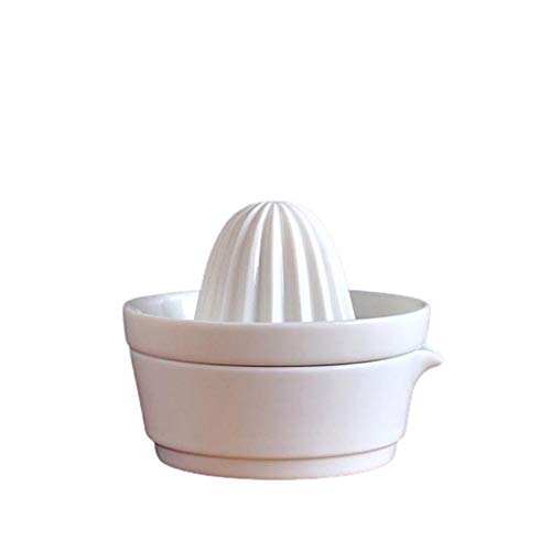 Baisix Manuelle Saftpresse, umweltfreundlich, Keramik, einfach, reinweiß, leicht zu reinigen, handgefertigt, Entsafter zum Entsaften von Orangen, großen Zitronen, Limetten (9 x 11 cm)