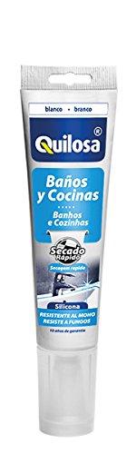 Quilosa T045518 Silicone pour cuisines et salles de bains, Blanc