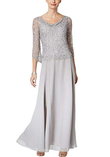 J Kara Women's Long Beaded Dress with Cowl Neck, Silver/Silver, 16 (Apparel)