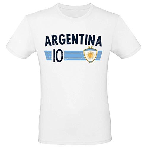 Shirt-Panda Fußball WM T-Shirt · Fan Artikel · Nummer 10 · Passend zur Weltmeisterschaft · Nationalmannschaft Länder Trikot Jersey für 2022 · Herren Damen Kinder · Argentinien Argentina L