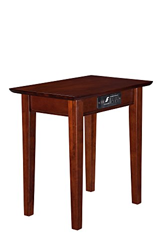 Atlantic Furniture Shaker Chair Side Table with Charging Station, Walnut