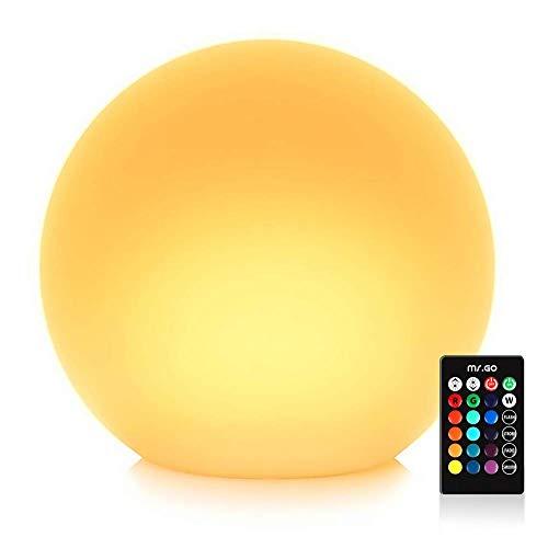 Justinz 35 cm waterdichte kogellamp voor buiten, led-kogellamp binnen, tuinbol buitenlamp lichtbol sfeerverlichting met kleurverandering, afstandsbediening en 16 instelbare RGB-kleuren