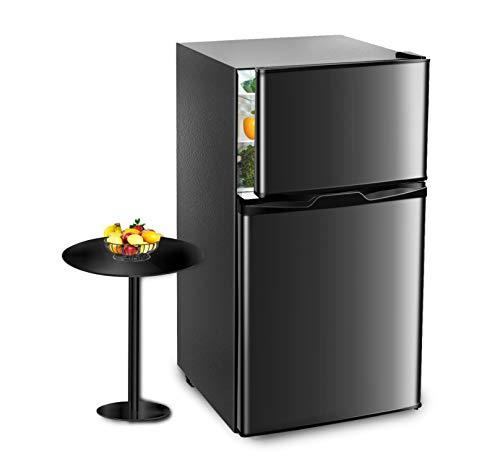 Pataku Mini Fridge with Freezer, 3.2 Cu.Ft Fridge Compact Refrigerator, 2 Door Mini Refrigerator Upright for Dorm, Bedroom, Office, Apartment- Food Storage & Drink Beer, Black