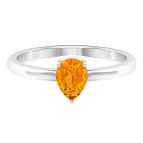 Anillo de compromiso con forma de lágrima, D-VSSI Moissanita, anillo de oro (5 x 7 mm, solitario en forma de pera), oro blanco de 14 quilates naranja