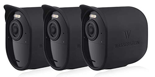 Fundas de Silicona Protectoras con tejado Solar compatibles con cámara de Seguridad Arlo Ultra – Decora y Protege tu cámara Arlo (Negro, Pack de 3)