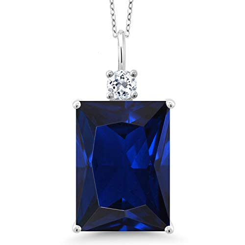 Gem Stone King 925 Sterling Silver Blue Created Sapphire and White Topaz Women's Pendant Necklace, 17.83 Cttw, Emerald Cut, with 18 Inch Silver Chain