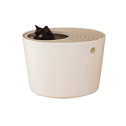 RATIO huisdier doos, vuilnisbak met volledig gesloten deksel, grote vuilnisbak, ergonomische afvalschop, splash en deodorant kat doos, geschikt voor katten, small, ORANJE