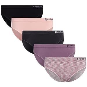 Reebok Women's Underwear - Seamless Bikini Briefs (5 Pack), Size Medium, Grey/Pink/Black