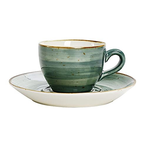 XDYNJYNL Cerámica taza de café y platillo conjunto, 6.76oz / 200ml Simplicidad Ecoamiliares con leche Cappuccino Tazas con taza de bebidas de mango Tazas Smoothie Tazas Bebidas Vidrios de agua Copa de