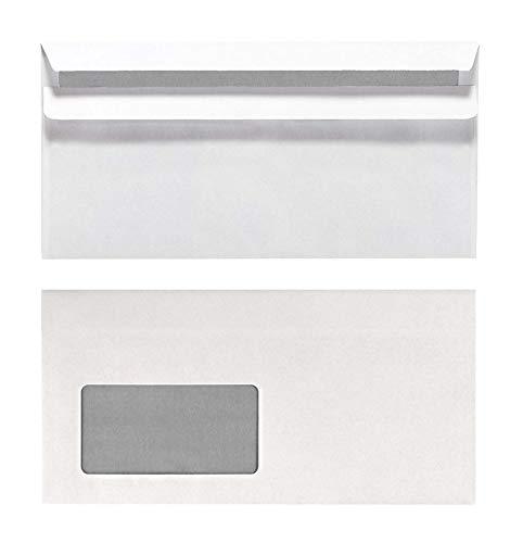Herlitz Briefumschlag DIN Lang, Selbstklebend mit Fenster, 100 Stück mit Innendruck in Folienpackung, eingeschweißt, weiß (5x 100 Stück)