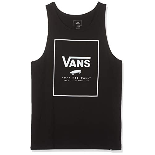 Vans Print Box Tank T-Shirt, Nero (Black White Grey Melange), Medium Uomo
