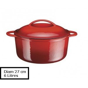 A.K TRADING Fonte COCOTTE B Ronde Rouge 27 CM 6 Code 0750