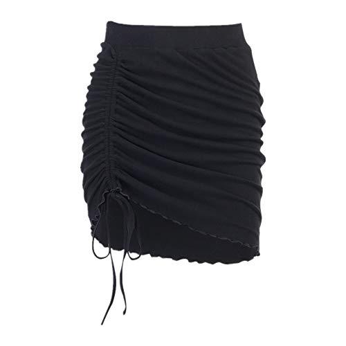 N\P Sexy Drawstring lace up high Waist Irregular Split Skirt Black Skirt Women's Summer