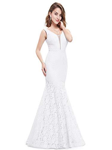 Ever-Pretty Damen Lang V-Ausschnitt Cocktailkleid Abendkleider 36 Größe Weiß