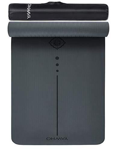 YAWHO Colchoneta de Yoga Esterilla Yoga Material medioambiental TPE,Modelo:183cmx66cm Espesor:6milímetros,Tapete de Deporte Grande y Antideslizante,Mochilas como Regalos (Grey)