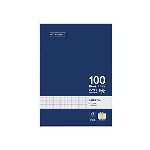 Miquelrius navulverpakking, 100 vellen, geruit 4 mm en rand. Formaat A4, zonder boren, papier 90 g.