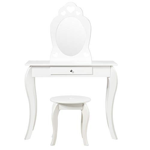 Giantex Tocador para niños con taburete, mesa de maquillaje, mesa cosmética con cajones, espejo extraíble, tocador para niñas, de madera, color blanco