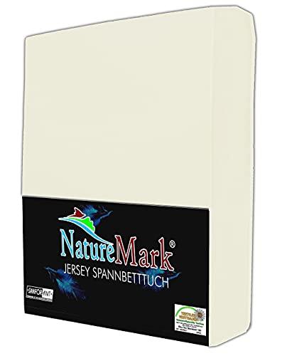 NatureMark Jersey Spannbettlaken, Spannbetttuch 100% Baumwolle in vielen Größen und Farben MARKENQUALITÄT ÖKOTEX Standard 100 | 180 x 200 cm - 200 x 200 cm - Creme/Natur