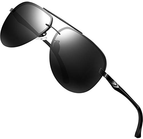 ATTCL Herren Polarisierte Sonnenbrille Al-Mg Metallrahmen Ultra leicht A143-black-gray