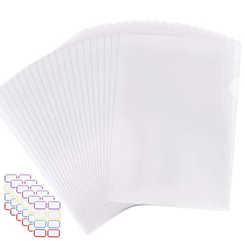 EOOUT 40pcs Plastic Clear Document Folder, Project Pockets Folders with Pockets, for US Letter, A4 Size, Transparent Color, with 48 Stickers, for School Office