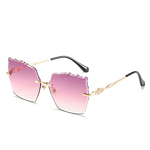 Gafas de sol de moda Gafas de sol sin marco Metal para mujer Metal UV400 Fotografía Verano Decoración de protección solar Pesca de viajes al aire libre (Color : B)