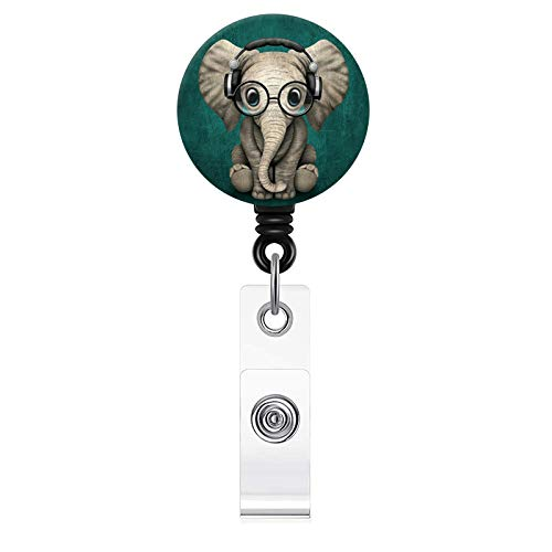 Cute Elephant Pattern Badge Reel, Retractable Badge Holder with Alligator Clip, 24 inch Retractable Cord,ID Badge Lanyard Reel for Nurse, Teacher, Student, Volunteer