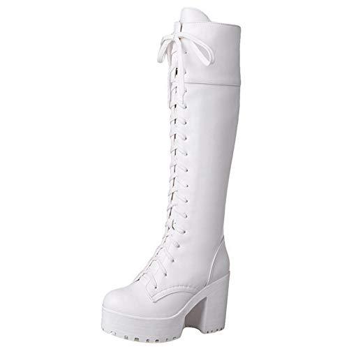 COOLCEPT Damen Schnürstiefel Plattform Stiefel Mittlere Chunky Heel Reitstiefel Autumn Hohe Stiefel (38 EU, Weiß)