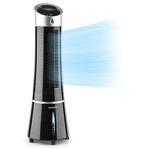 Klarstein Skyscraper Ice - Enfriador de Aire 3 en 1, Climatizador evaporativo, 30W, 210m³/h, Ventilador, Humidificador, 3 velocidades, Modo Normal, Natural y Nocturno, Mando a distancia, Ébano
