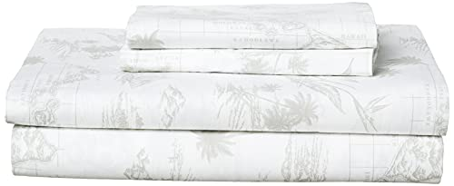 Tommy Bahama Percale Collection Sheet Set-100% Cotton, Crisp & Cool, Lightweight & Moisture-Wicking Bedding, Queen, Vintage Map