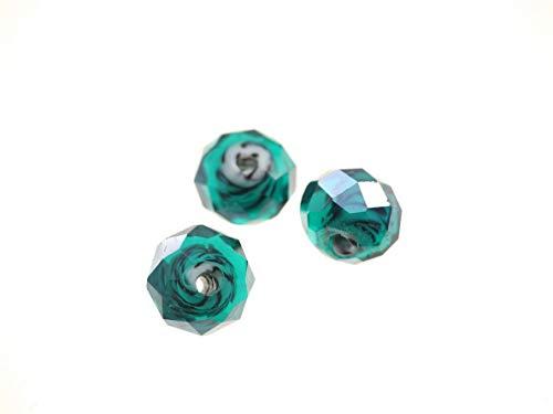 Creative-Beads glasparel, geslepen parel, wiel 14 x 8 mm kleurafwijking, hoogwaardige, geslepen kristallen parels om zelf oorbellen, armbanden, kettingen, sieraden, om te knutselen, vormgeven, decoreren petrol