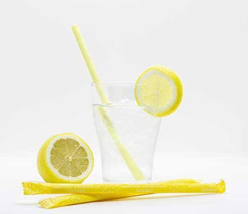 Cannucce commestibili Sorbos - 8 sapori: lime, fragola, limone, zenzero, cannella, mela, cioccolato, neutre, 200 pezzi confezionati singolarmente in scatola di cartone, gusto: limone