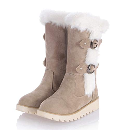 CYBLING Winter Warm Snow Boots for Women Suede Flat Low Heel Buckled Furry Mid Calf Boots Apricot