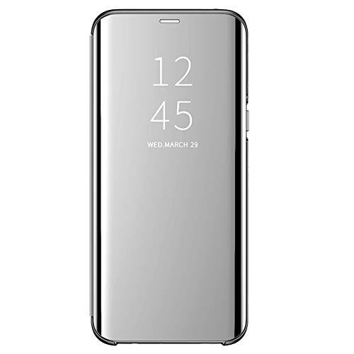 Samsung Galaxy A40 Hülle Kompatibel mit Samsung Galaxy A40 Mirror Handyhülle Flip Clear View Spiegel Schutzhülle mit Standfunktion Case Cover PU Handy Schutz Handyhülle (Samsung Galaxy A40, Silber)