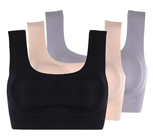 Acramy Damen Sport-BH Push Up Starker Halt Große Brüste Ohne Bügel Gepolstert Bequem BH 3 Stück (3XL, Mehrfarbig1)