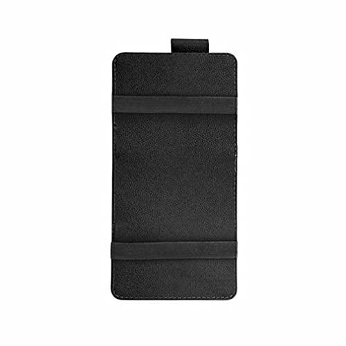 Cuero Universal Car Sun Visor Card Pen Holder Gafas Clip Bolsa de Almacenamiento Negro 150 * 310mm