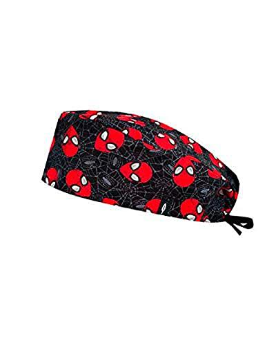 ROBIN HAT - Cuffie da sala Operatoria BLACK SPIDERMAN - CAPELLI CORTI- 100% cotone (Autoclave) - Massima comodità