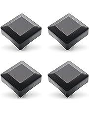 Enkotrade 4 stuks hekkappen zwart voor buitenafmetingen 60 x 60 mm, buisdoppen van hoogwaardig kunststof, piramide vierkant hekpalenkappen paaldeksel hekafdekking