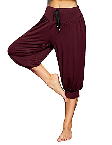 Sykooria Pantalones Corto de Deportivos para Mujer Capri de Algodón Pantalon de Yoga con Bolsillos Pantalón de Harem Cintura Alta Pilates Baile Jogger