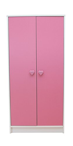 Devoted2Home Hearts childrens bedroom furniture kids wardrobe pink and white heart handle