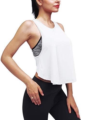 Mippo Crop top Workout Shirts for Women Muscle Tanks Active Crop Top Loose Flowy High Neck Tank Top Crop Tshirts Activewear Tops Exercise Shirts Workout Clothes White XS