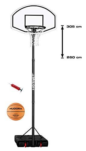 Hornet Jugend Basketballständer Basketballkorb 305 mit Basketball und Ballpumpe, schwarz/weiß, 305 cm