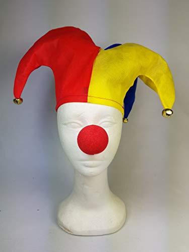 wuselwelt 093028 / Narrenkappe mit 3 Glöckchen und Clownnase, für Erwachsene, Narr Hut, Kostüm, Kopfbedeckeung